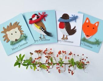 Garden wildlife Christmas card pack, multipack, Robin, Goldfinch, Hedgehog & Fox, Xmas card,