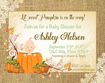 Lil' pumpkin is on the way invitation (baby shower)