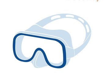 Ironing pattern Diving goggles, two-tone, flock film, flex foil or glitter foil in desired color, ironing on cotton