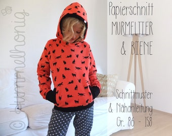Sewing Pattern Kids Hoodie (Sweatshirt) & Beanie (Gr 86-158) Paper Cut, Instructions and Cutting Sheet