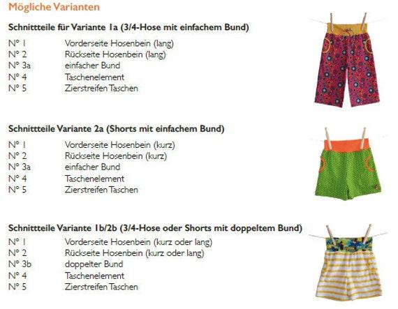 Schnittmuster Ebook Kurze Hose Gr. 86 158 | Etsy