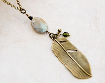 Feather Necklace, Labradorite Necklace, Antique Brass Feather Charm, Best Seller Necklace, Long Layering Necklace, Boho Chic Necklace