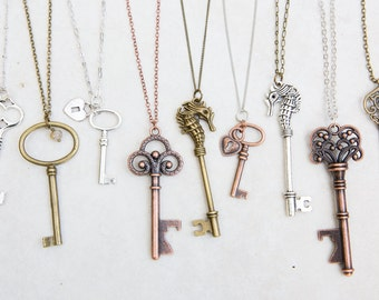Key Necklace Skeleton Key Jewelry Victorian Key Necklace Antique Key Black Leather Necklace Cord Necklace Men/'s Jewelry Boyfriend Necklace