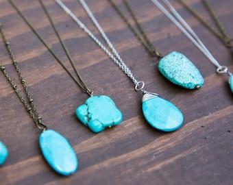 Long Turquoise Necklace, Layering Boho Necklace, Teardrop Oval Organic Stone Jewelry