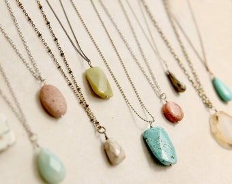 Boho Stone Necklace, Turquoise Pink Aqua Cream Jewelry, Choose your Stone and Chain