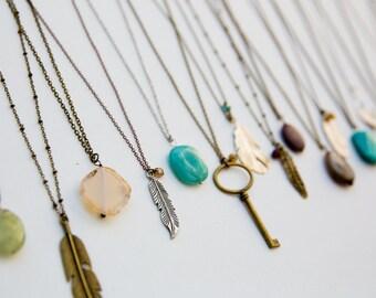 Two Boho Necklaces, Choose Two, Bohemian Layered Necklace, Long Layering Necklace, Men's Long Necklace, Women's Boho, Southwest Style