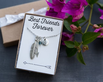 Best Friends Forever, Silver Feather and Arrow Necklace, Personalized Necklace, Initial Necklace, Charm Necklace, Friendship Necklaces