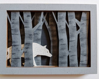 Wolf in the Woods | Paint it Yourself DIY Kit | Little Red Riding Hood | Fairy Tale Shadowbox | Wood Home Decor