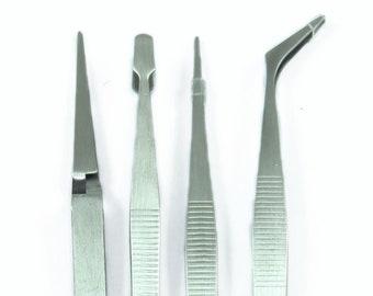 4pc Tweezers Set - Stainless Steel - Self Closing, Wide, Straight & Bent. Free UK Postage.