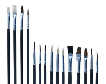15pc Art Brush Set, Pointed & Flat Tipped, Suitable for Water Colours, Acrylics, or Oils