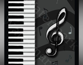 Printable Instant Download Piano Music Art