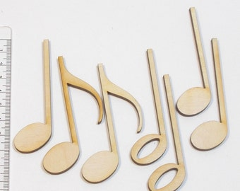 Wood 80 mm 7 PCs for table decoration, wall decoration, door panels and musician notes