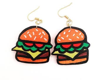 Cheeseburger Earrings - Cheeseburger Jewelry, Burger Earrings, Burger Jewelry, Food Earrings, Food Jewelry,