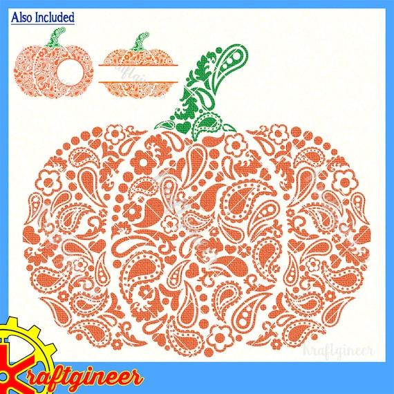 Paisley Pumpkin Svg Swirly Pumpkin Split Pumpkin Monogram Etsy