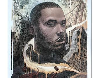 Nas A3 Lithograph Art Print Dan Lish Ego Strip Hip Hop series