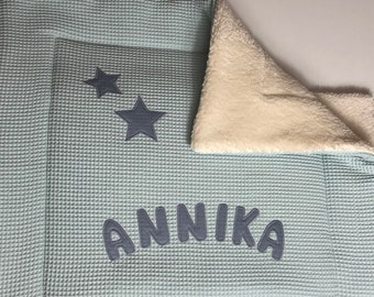 Children's blanket with name, blanket, name blanket, stine with heart