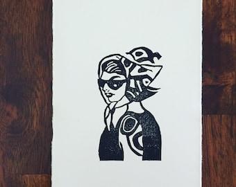 Jackie small linocut print