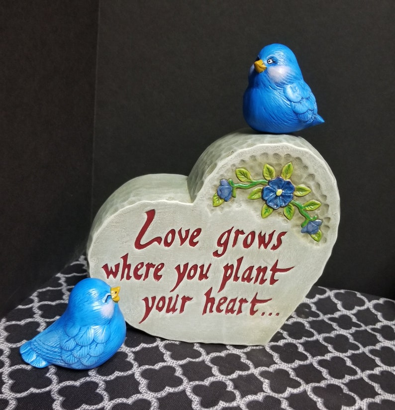 Ceramic Stone Dona D1734 Handmade Hand Painted Wedding Centerpiece Love Grows Heart Stone with two Stone Birds and Flowers