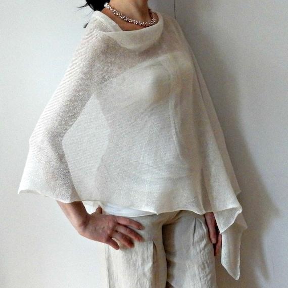 Encogimiento de hombros de blanco lino Poncho tejer Poncho | Etsy
