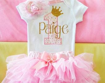 cc4b7f2ba First Birthday Outfit Girl,princess birthday outfit,pink gold birthday,cake  smash outfit girl,1st birthday tutu,personalized 1st birthday