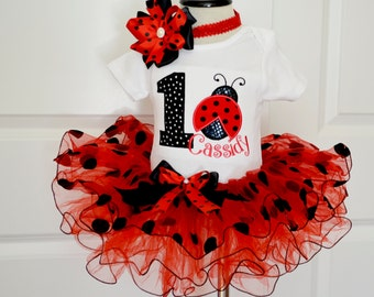 First Birthday Outfit GirlLadybug Red Black Polka DotPersonalized Girls 1st Tutuladybug Tutucake Smash