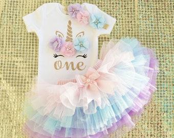 3b6ce3d38 baby girl one year old birthday girl,one gold unicorn shirt,pink blue  lavender handmade tutu ,first birthday outfit girl,cake smash girl