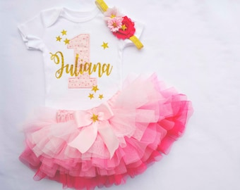 222d64991 First birthday tutu girlfirst birthday outfit girlPink
