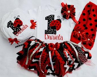 First Birthday OutfitLadybug Tutu Outfit1st Outfit Ladybug Tutushabby Chic OutfitGirls Cake Smash