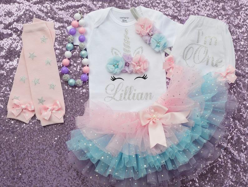 Unicorn Birthday Outfit For 1 Year Old,Girl 1st Birthday Otufit,Sparkle Tutu Handmade,Baby Girl First Birthday Outfit,One Year Old Tutu