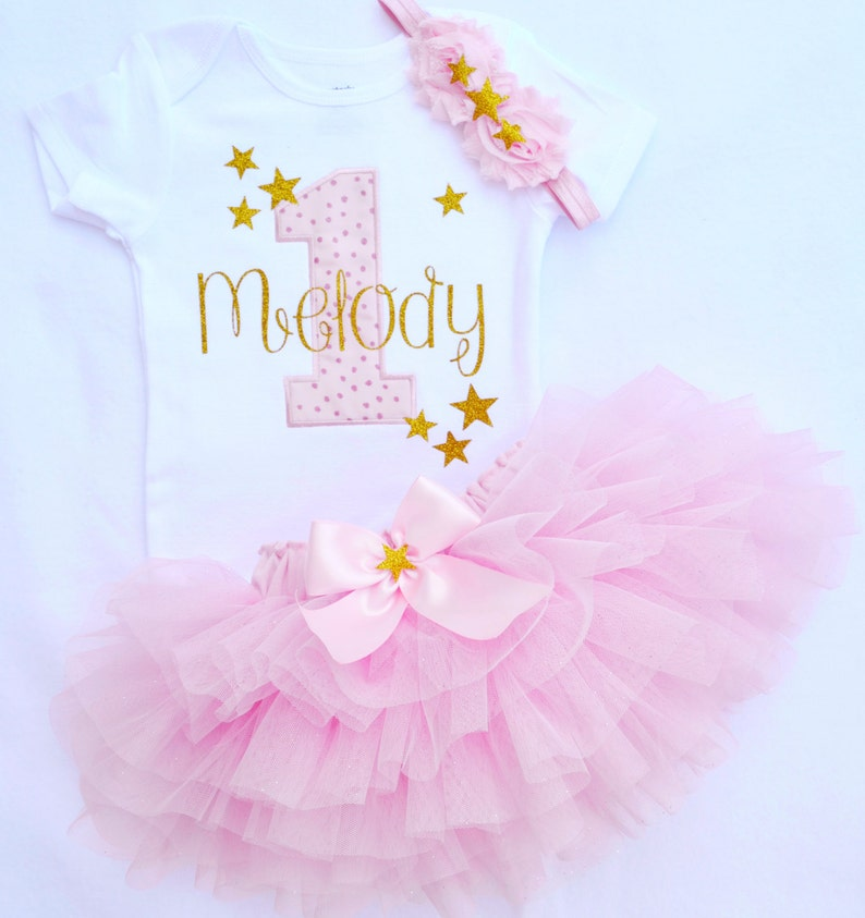 b4e8194c6 Baby girl first birthday outfit in pink and goldtwinkle   Etsy