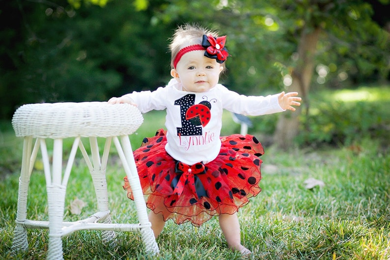 First Birthday Outfit Girl Ladybug OutfitBlack Red
