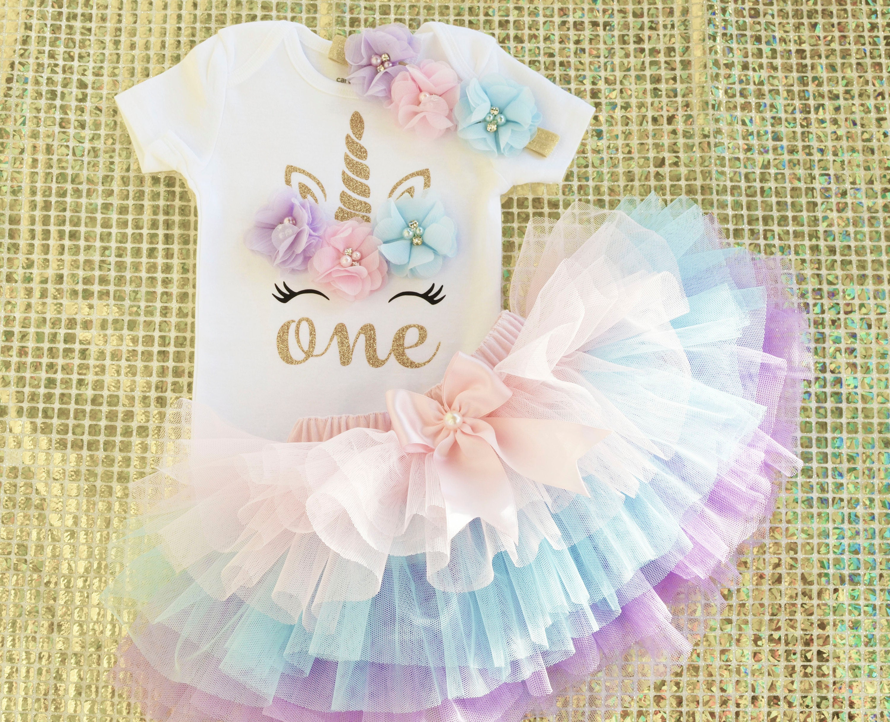 baby girl first 1st birthday outfit  tutu cake smash photo shoot unicorn party