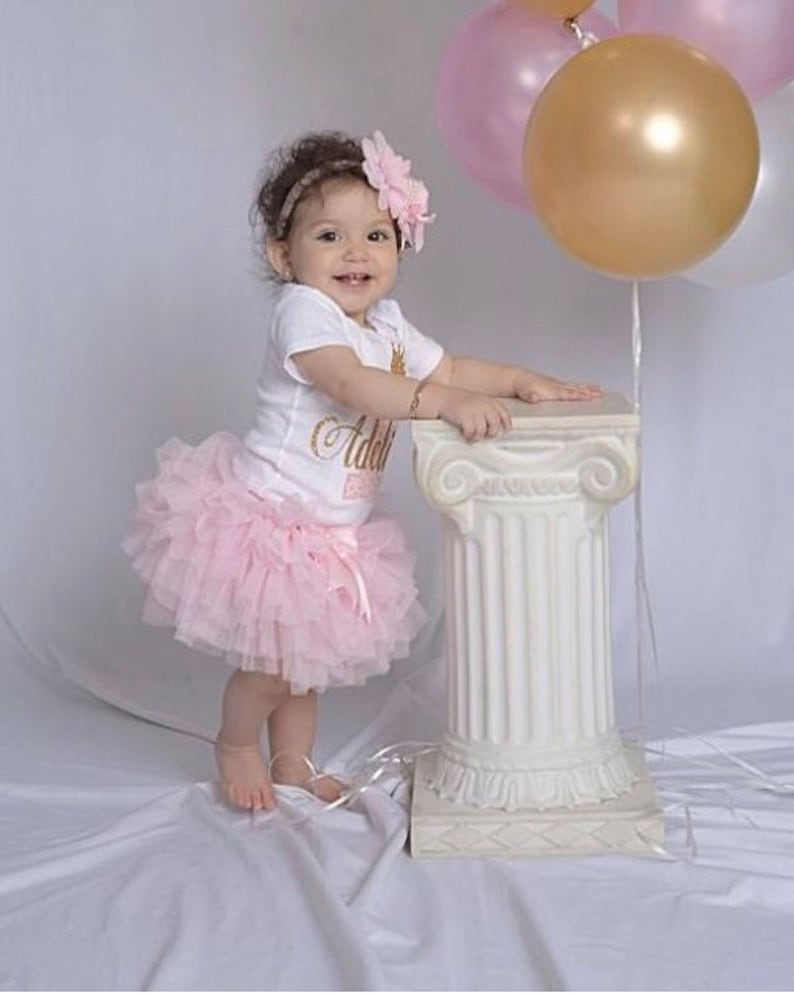 1st Personalized Girl Girls Tutu Outfit Cake First Birthday Pink Gold In Smash EYWH9ID2