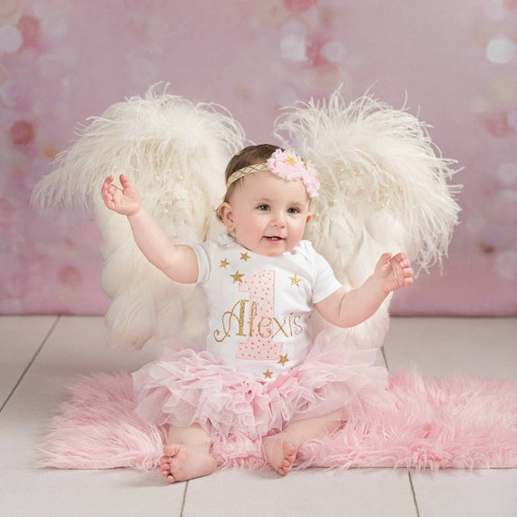 Baby Girl First Birthday Outfit In Pink And Goldcustomized
