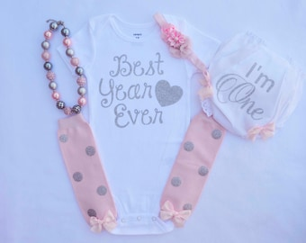 First Birthday Outfit Girl Cake Smash Outfit Girl 1st Birthday Bodysuit  Pink Silver birthday cake smash outfit best year ever I'm One
