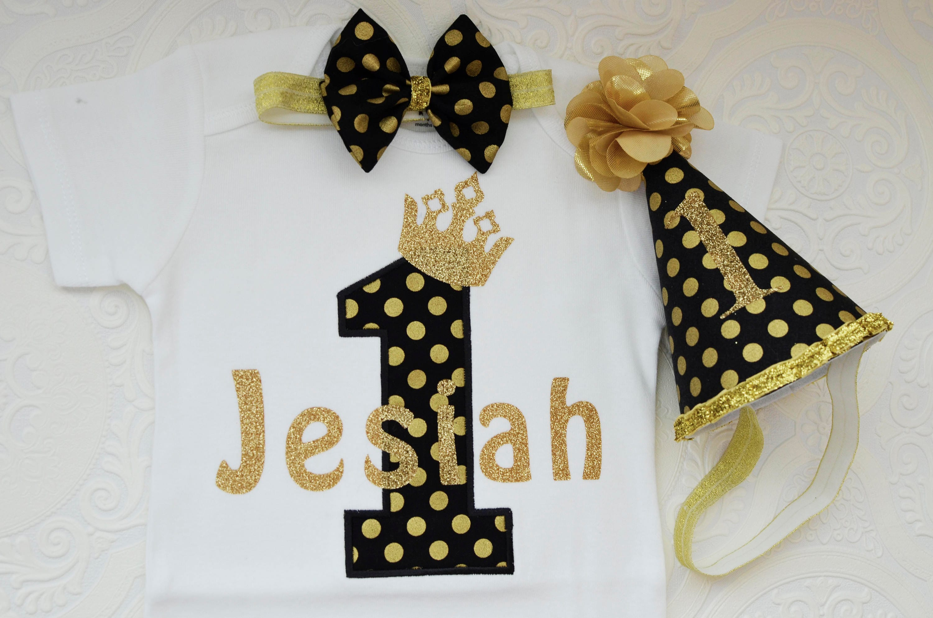 Baby Boys 1st Birthday Cake Smash Outfit// Prop.wild One Black//grey//yellow