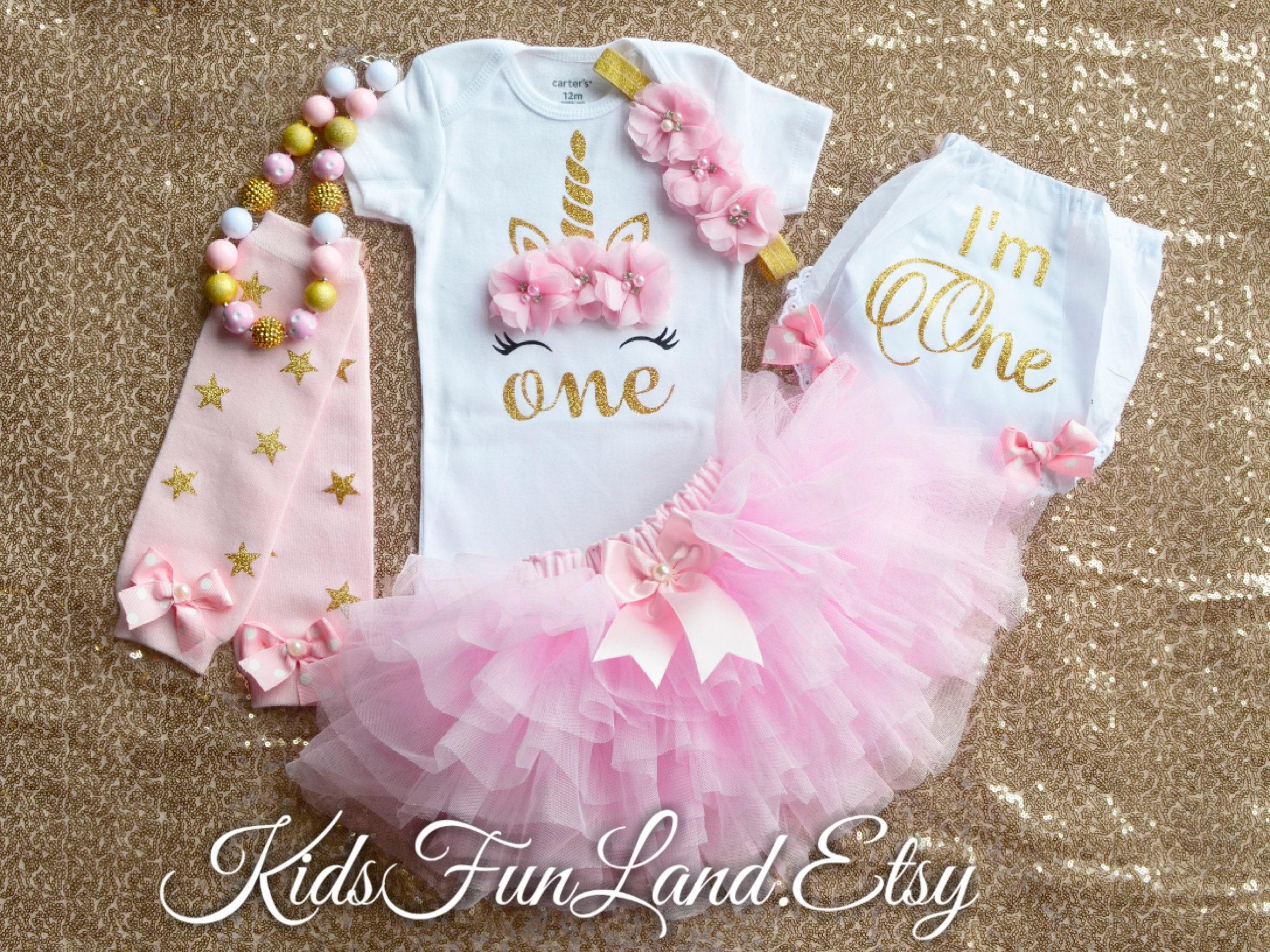 Girls First 1 Pink White Gold Unicorn Cake Smash Tutu Outfit Photo Shoot