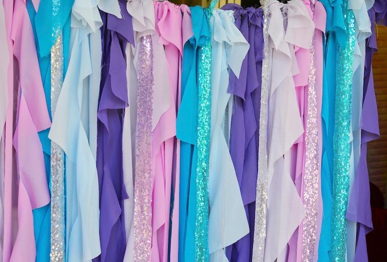 Mermaid Curtain,Mermaid Backdrop,Mermaid Party Decorations,Mermaid Birthday,Mermaid Banner,Mermaid Curtain Lavender Purple Turquoise Blue