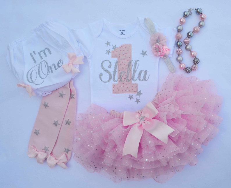 62099103 Baby girl first birthday outfit in pink silverpersonalized | Etsy