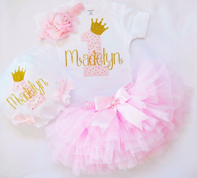 6b47e4a93d23 Girl first Birthday Outfit pink goldcake smash outfit | Etsy