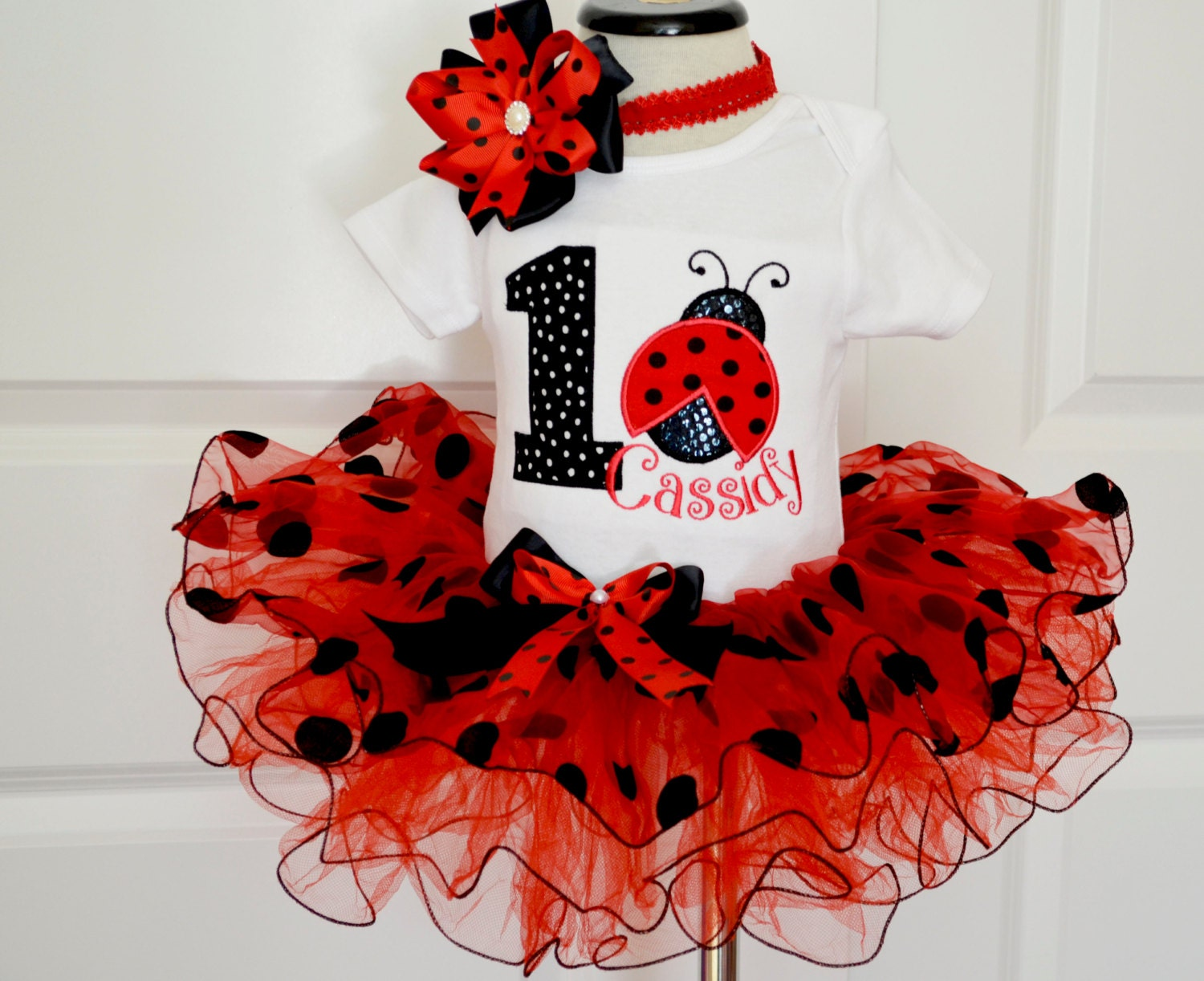 Ladybug Birthday Outfitfirst Birthday Outfit Girlred Black Etsy