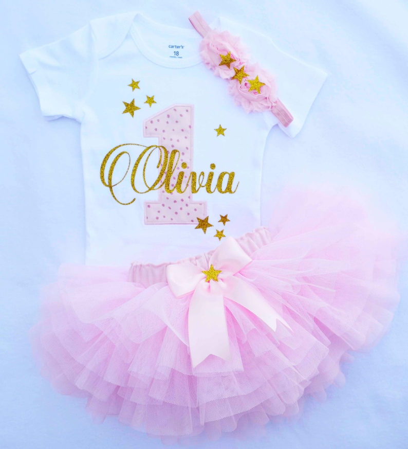 452b48cb2ae43 First birthday outfit girlpink gold birthday outfittwinkle   Etsy