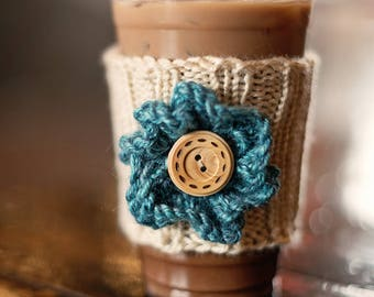 Flower Coffee Sleeve, Knit Coffee Cozy, Graduation Gift, Gift for Her, Gift Under 10, Gift with Flower, Bridal Shower, Bridesmaid Gift