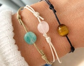 Gemstone Bracelet, Adjustable Cord Bracelet, Rose Quartz Bracelet, Tigers Eye Bracelet, Blue Amazonite Crystal Bracelets Serenity Project