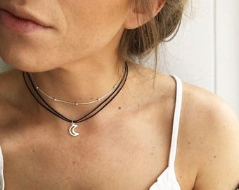 Moon choker, crescent moon choker, silver choker, silver necklace, layered chokers with adjustable black or white cord by Serenity Project