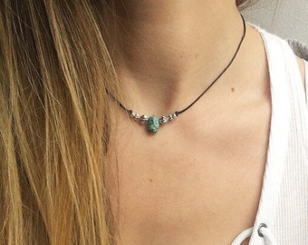 Aubrey - Turquoise beaded choker, crystal choker necklace, silver bead necklace, simple layered choker, something blue by Serenity Project