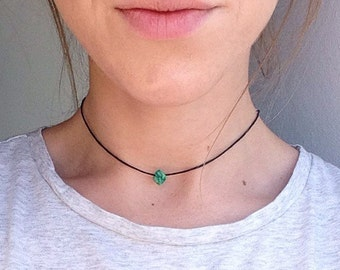 The Jasper Choker - Green Jasper raw crystal chip choker necklace on black cord, approx. 12 inch length. By Serenity Project
