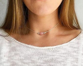 Rose quartz beaded choker 'Emily', Gemstone choker, crystal choker necklace, pink gemstone necklace, silver choker bead by Serenity Project