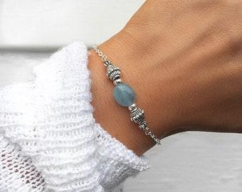 Aquamarine bracelet, Aqua Marine Jewelry, Silver beaded bracelet, bracelets for women, March birthstone, crystal bracelet, Serenity Project