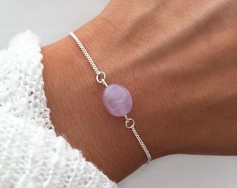 Amethyst bracelet, Silver beaded bracelet, dainty silver bracelet, February Birthstone Bracelet, crystal bracelet, by Serenity Project